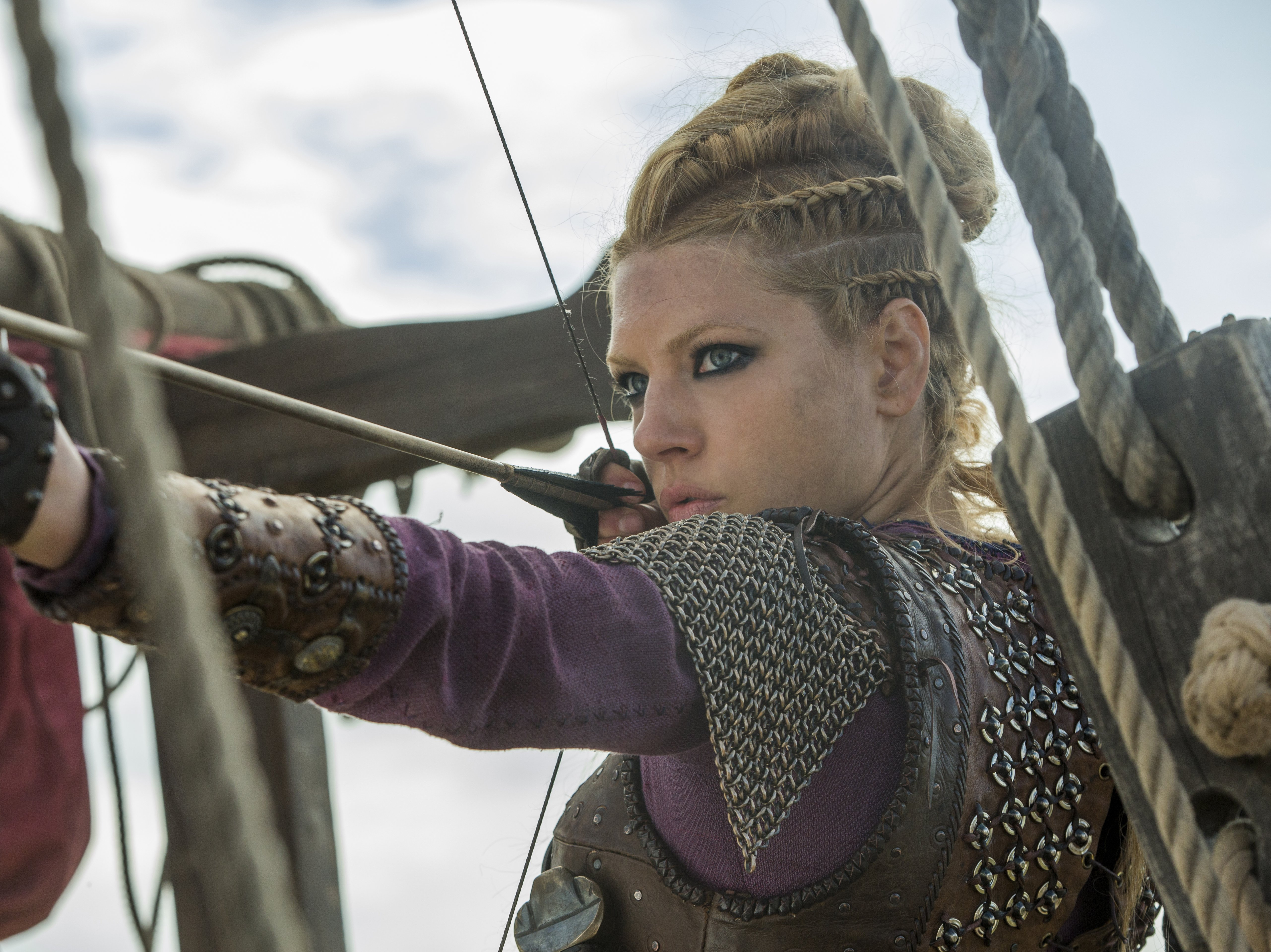 Lagertha during the battle. Photo: History/MGM