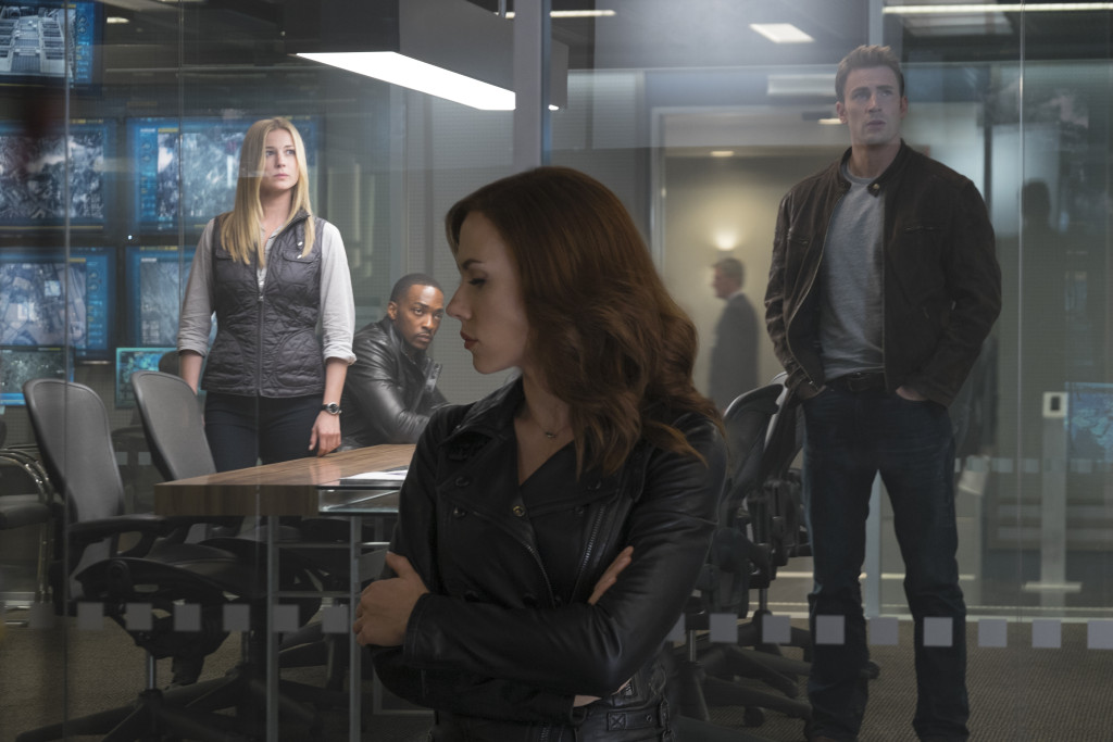 Marvel's Captain America: Civil War..L to R: Sharon Carter/Agent 13 (Emily VanCamp), Sam Wilson/Falcon (Anthony Mackie), Natasha Romanoff/Black Widow (Scarlett Johansson), and Steve Rogers/Captain America (Chris Evans)..Photo Credit: Zade Rosenthal..© Marvel 2016