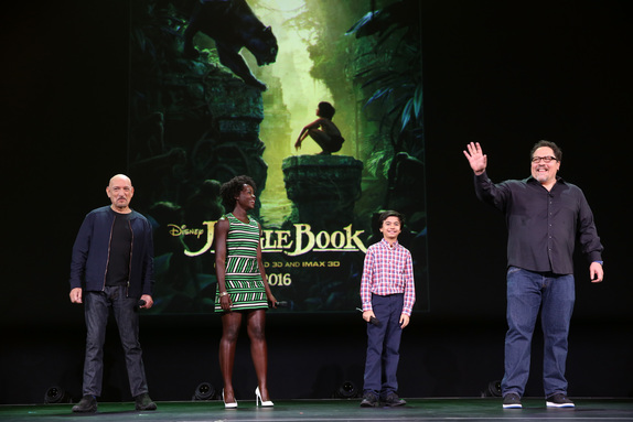 """ANAHEIM, CA - AUGUST 15: (L-R) Actors Ben Kingsley, Lupita Nyong'o, Neel Sethi and director Jon Favreau of THE JUNGLE BOOK took part today in """"Worlds, Galaxies, and Universes: Live Action at The Walt Disney Studios"""" presentation at Disney's D23 EXPO 2015 in Anaheim, Calif. (Photo by Jesse Grant/Getty Images for Disney) *** Local Caption *** Ben Kingsley; Lupita Nyong'o; Neel Sethi; Jon Favreau"""