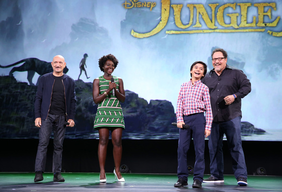 Photo by Jesse Grant/Getty Images for Disney. Pictured: Ben Kingsley; Lupita Nyong'o; Neel Sethi; Jon Favreau