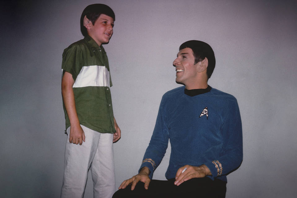 Adam Nimoy on set with his Father Leonard (Mr Spock)
