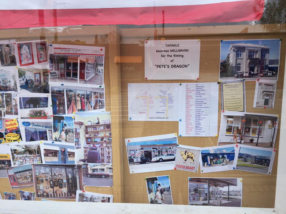 Photos in the window of The Tapanui Courier.
